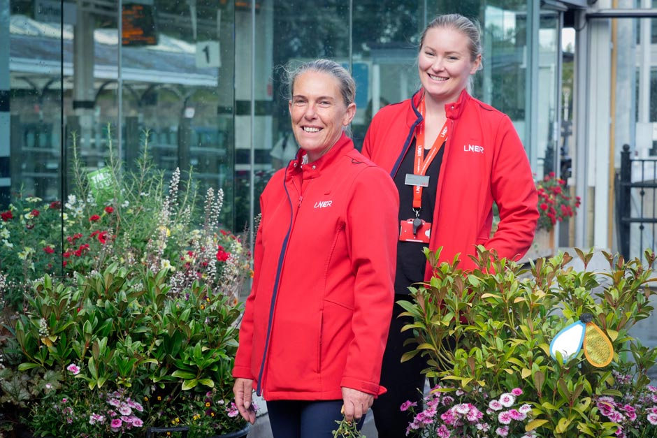LNER staff tend a garden at the railway station for Durham in Bloom
