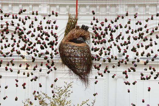 Floral heart installation