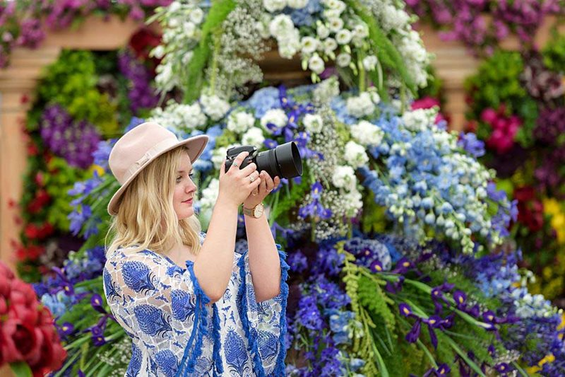 Visitor in the Great Pavilion at RHS Chelsea Flower Show