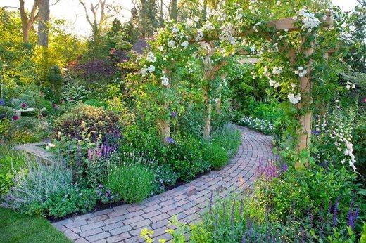 See rhs garden style cottage garden rhs gardening for Brick flower garden designs