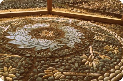 Detail of the magnolia mosaic in the woodland shelter
