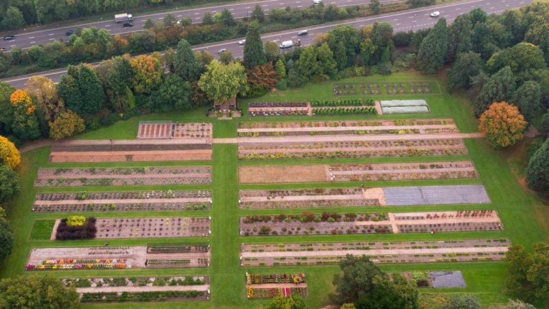 Aerial view of trials field at Wisley