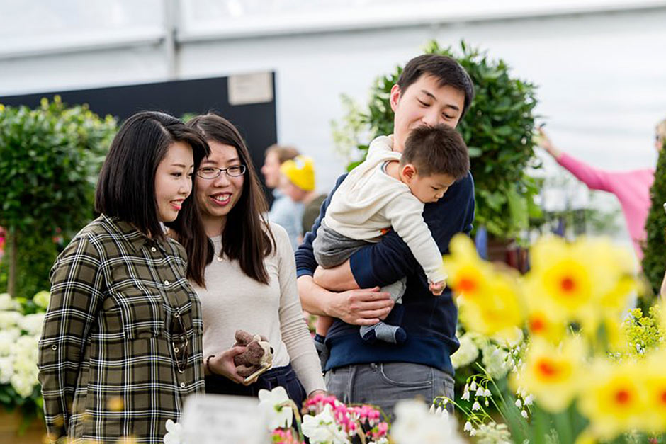 A family at Cardiff Flower Show
