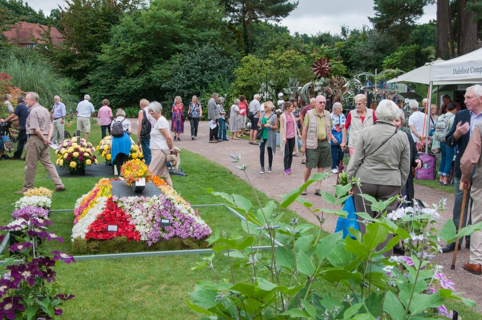 Visitors admiring Flower Show displays