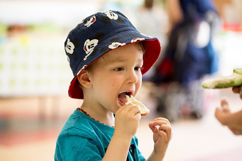 Child eating at a show