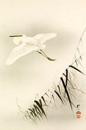 19th-century painting of an egret flying over bamboo by an unknown Chinese artist