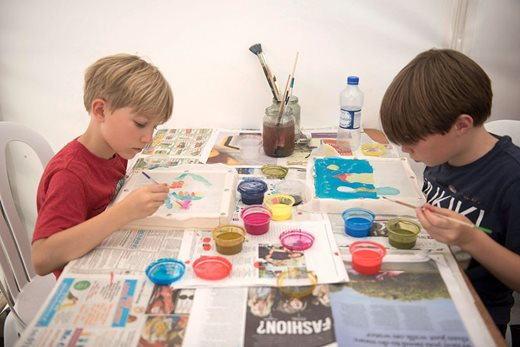 Boys at craft workshop