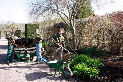James, Bryony and Sam mulching the Long Borders