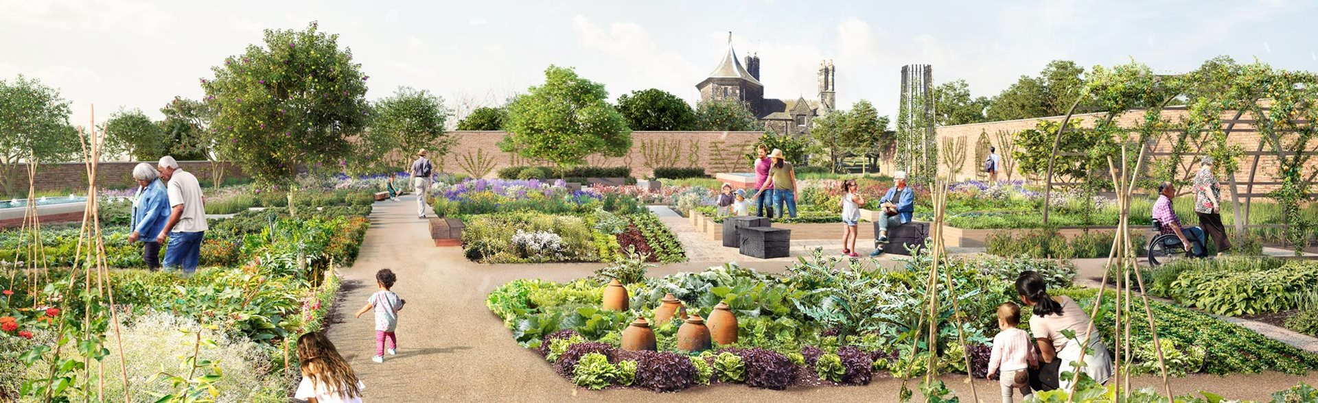 Artist impression of the Kitchen Garden, Weston Walled Garden, RHS Garden Bridgewater