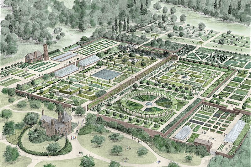 artwork of the walled garden by tom stuart smith - Garden Design Birds Eye View