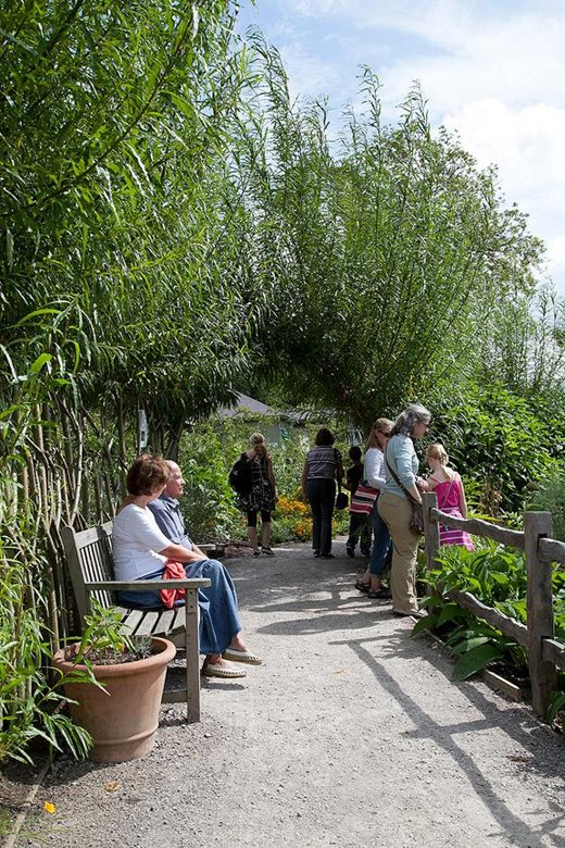 Visitors enjoying a garden walk