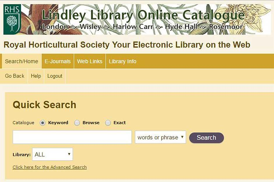 RHS Lindley Library online catalogue