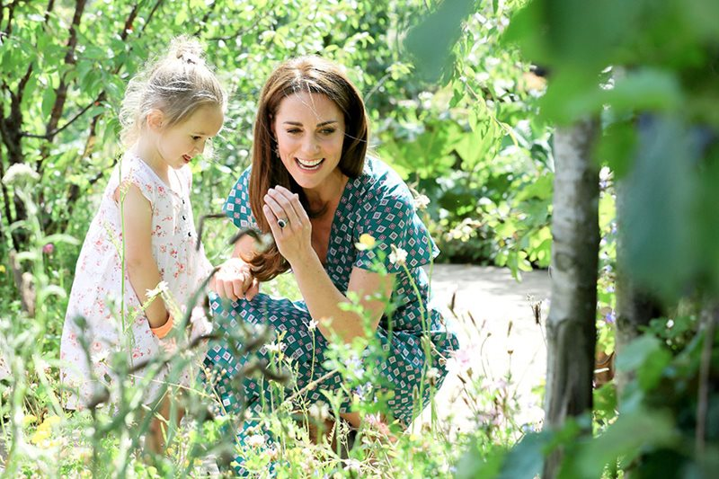 HRH The Duchess of Cambridge in the RHS Back to Nature Garden