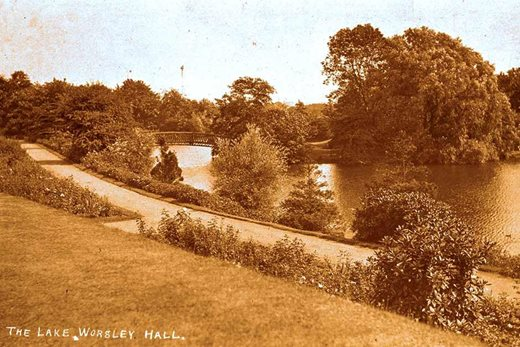 The lake at Worsley New Hall in its heyday