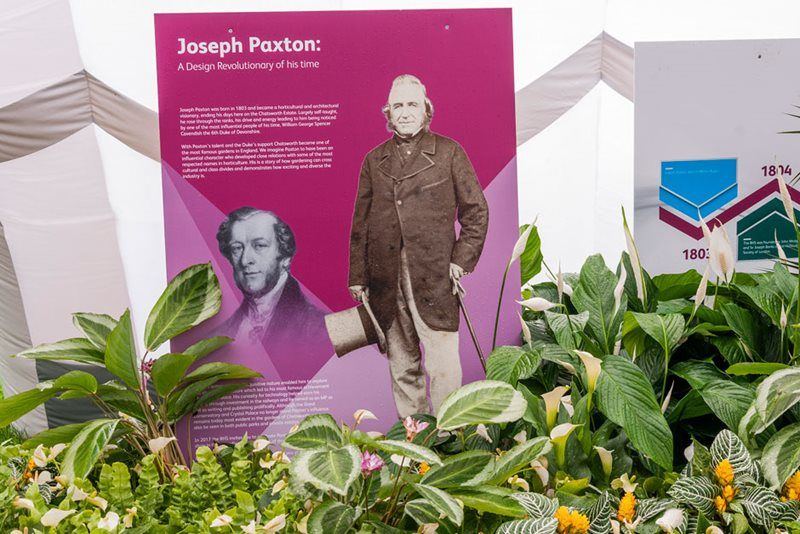 Info display about Joseph Paxton in the Great Conservatory at Chatsworth