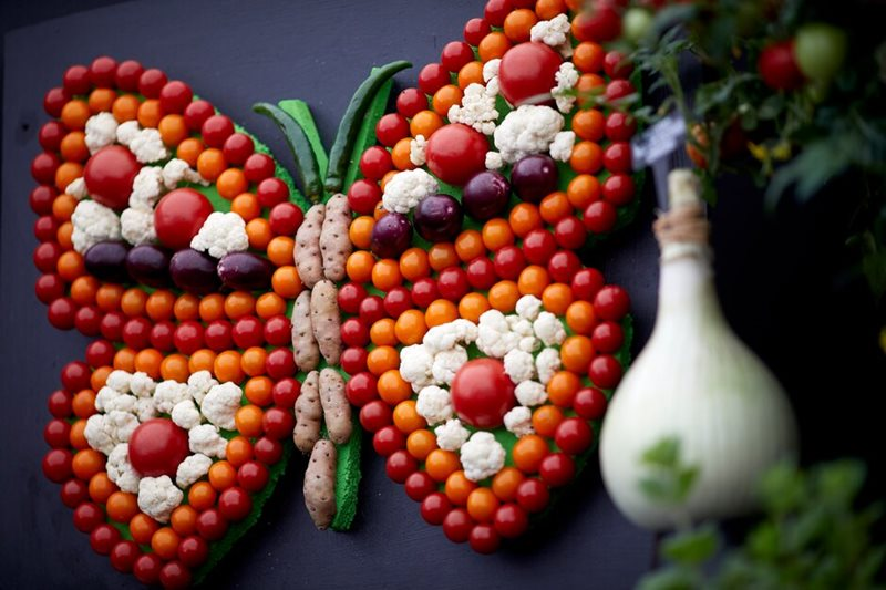 Butterfly made from seasonal fruit and vegetables