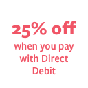 25% off when you pay with Direct Debit