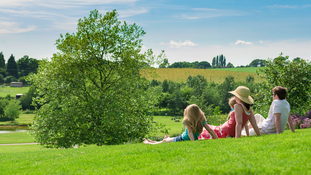 A family relaxes on Clover Hill