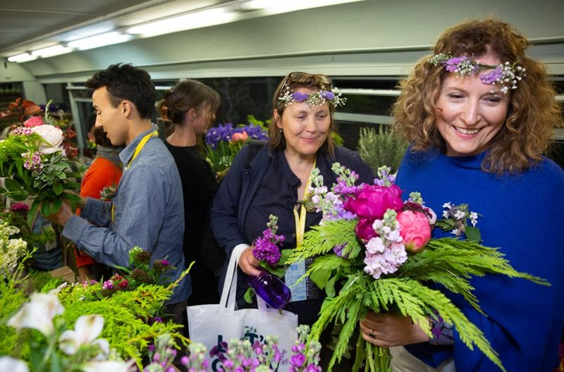 Party goers enjoyed the British Flower Bus