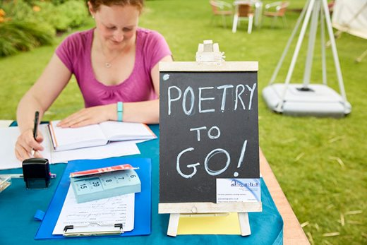 Poetry to Go stand