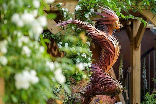 a garden sculpture at the show