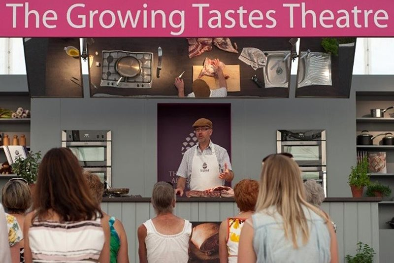 cookery demonstration at the growing tastes theatre