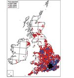 Lily beetle distribution in the UK at December 2014. Produced using Dmap©