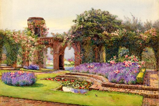 The Lavender Garden at Dyffryn House, circa 1922-1923 by Edith Helena Adie