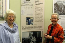Mrs Doreen Black and Mrs Margie Mellis at the opening of the exhibition. They are both descendants of Ruhleben internees who were shipmates on the SS Rubislaw